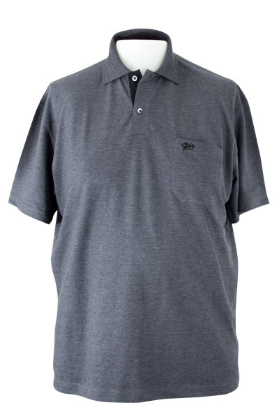 Camiseta Gola Polo - Marinho Mescla - Malha Piquet Bordada